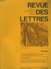 REVUE DES LETTRES. 116e ANNEE N°1. JANVIER-JUIN 1981. - Couverture - Format classique