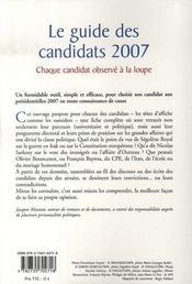 Le Guide Des Candidats 2007 - 4ème de couverture - Format classique