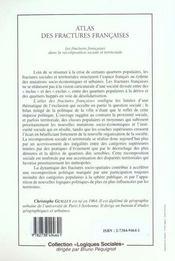 Atlas Des Fractures Francaises ; Les Fractures Francaises Dans La Recomposition Sociale Et Territoriale - 4ème de couverture - Format classique