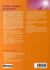Pilotage stratégique de l'entreprise ; le rôle du tableau de bord prospectif - 4ème de couverture - Format classique