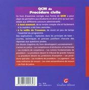 Qcm Procedure Civile - 4ème de couverture - Format classique