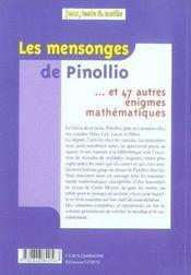 Les mensonges de pinollio - 4ème de couverture - Format classique
