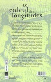 Calcul Des Longitudes - 4ème de couverture - Format classique