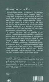 Histoire Des Rois De Pasey - 4ème de couverture - Format classique