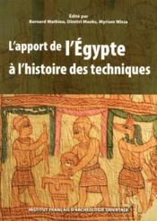 L'apport de l'Egypte à l'histoire des techniques - Couverture - Format classique