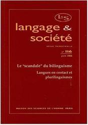Revue Langage Et Societe N.116 ; Le