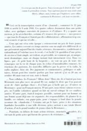 Journal D'Occupation, Paris 1940-1944 - 4ème de couverture - Format classique