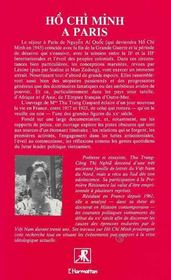 Ho Chi Minh A Paris - 4ème de couverture - Format classique