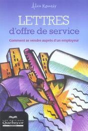 Lettres D'Offre De Service ; Comment Se Vendre Aupres D'Un Employeur - Intérieur - Format classique