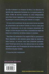 Lettres D'Offre De Service ; Comment Se Vendre Aupres D'Un Employeur - 4ème de couverture - Format classique