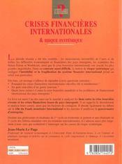 Crises Financ.Intern. Risque Systemique - 4ème de couverture - Format classique