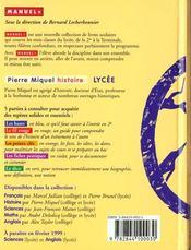 Histoire Lycee - 4ème de couverture - Format classique
