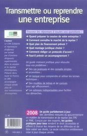 Transmettre ou reprendre une entreprise (édition 2008) - 4ème de couverture - Format classique