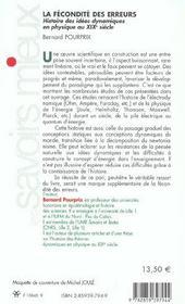 La Fecondite Des Erreurs - 4ème de couverture - Format classique