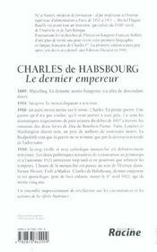 Charles de Habsbourg ; le dernier empereur - 4ème de couverture - Format classique