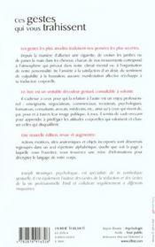 Ces Gestes Qui Vous Trahissent ; 3e Edition - 4ème de couverture - Format classique