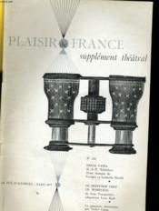 Plaisir De France Supplement Theatral N°251 - Couverture - Format classique