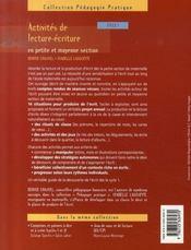Activités de lecture-écriture ; cycle 1 - 4ème de couverture - Format classique