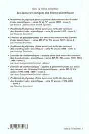 Problemes Corriges De Physique Chimie Concours Scientifiques Tome 7 1999-2000 Serie Pt - 4ème de couverture - Format classique