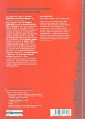 Mathématiques et gestion financière - 4ème de couverture - Format classique