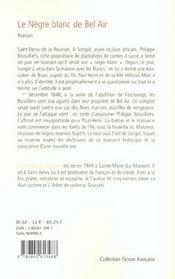 Le Negre Blanc De Bel Air - 4ème de couverture - Format classique