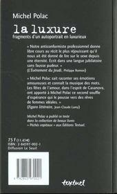 La luxure ; fragments d'un autoportrait en luxurieux - 4ème de couverture - Format classique