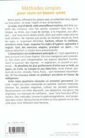 Methodes Simples Pour Vivre En Bonne Sante - 4ème de couverture - Format classique