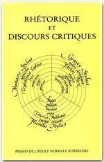 Rhétorique et discours critique - Couverture - Format classique