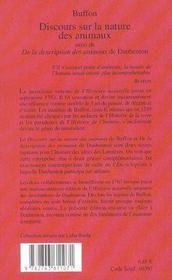 Discours Sur La Nature Des Animaux - 4ème de couverture - Format classique