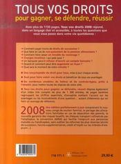 Tous vos droits pour gagner, se défendre (édition 2008) - 4ème de couverture - Format classique