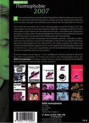 Rapport sur l'homophobie (édition 2007) - 4ème de couverture - Format classique