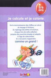 Je Calcule Et Je Colorie - 4ème de couverture - Format classique