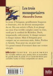 Les trois mousquetaires - 4ème de couverture - Format classique