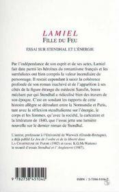 Lamiel, Fille Du Feu : Essai Sur Stendhal Et L'Energie - 4ème de couverture - Format classique