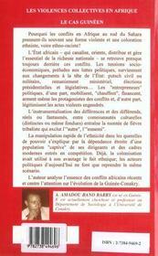 Les Violences Collectives En Afrique ; Le Cas Guineen - 4ème de couverture - Format classique