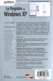 Le Registre De Windows Xp - 4ème de couverture - Format classique