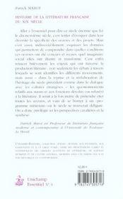 Histoire De La Litterature Francaise Du Xix Siecle - 4ème de couverture - Format classique