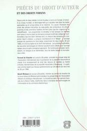 Precis Du Droit D'Auteur Det Des Droits Voisins - 4ème de couverture - Format classique