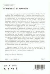 Nihilisme De Flaubert (Le) - 4ème de couverture - Format classique
