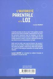 L'Autorite Parentale Et La Loi - 4ème de couverture - Format classique