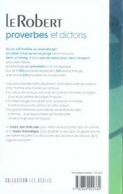 Dictionnaire de proverbes et dictons - 4ème de couverture - Format classique
