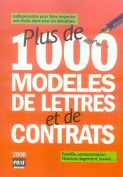 Plus de 1000 modèles de lettres et de contrats (édition 2008) - Intérieur - Format classique