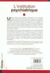 Institution Psychiatrique - 4ème de couverture - Format classique