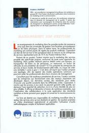 Management Des Services - 4ème de couverture - Format classique
