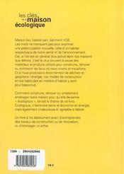 Cles de la maison ecologique (les) - 4ème de couverture - Format classique