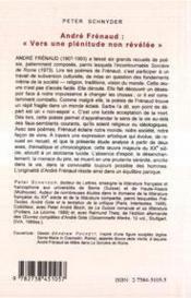 André Frénaud : vers une plénitude non revélée - 4ème de couverture - Format classique