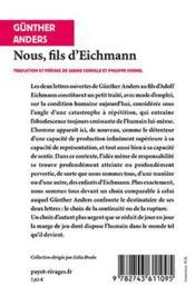 Nous, Fils D'Eichmann - 4ème de couverture - Format classique