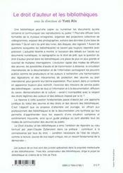 Le Droit D'Auteurs Et Les Bibliotheques - 4ème de couverture - Format classique