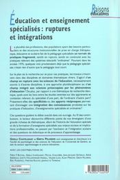 Education Et Enseignement Specialises : Ruptures Et Integrations - 4ème de couverture - Format classique