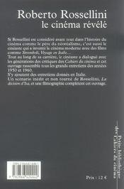 Roberto Rossellini Le Cinema Revele - 4ème de couverture - Format classique